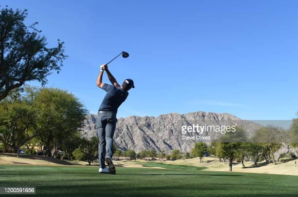 Max Homa plays his shot from the third tee during the final round of The American Express tournament at the Stadium Course at PGA West on January 19,...