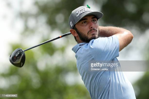 Max Homa plays his shot from the third tee during the third round of the 2019 Wells Fargo Championship at Quail Hollow Club on May 04 2019 in...