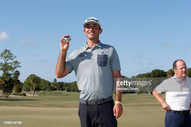 Max Homa poses with his PGA TOUR card after the fourth and final round of the Webcom Tour Championship held at Atlantic Beach Country Club on...