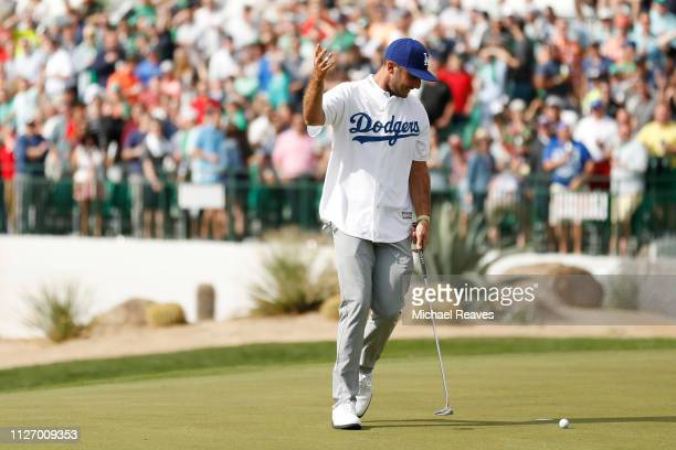 Max Homa reacts after putt on the 16th green during the third round of the Waste Management Phoenix Open at TPC Scottsdale on February 02 2019 in...