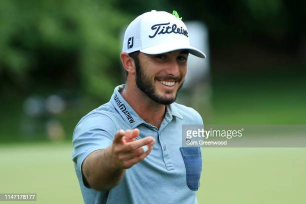 Max Homa reacts as he walks off the 12th green during the final round of the 2019 Wells Fargo Championship at Quail Hollow Club on May 05 2019 in...