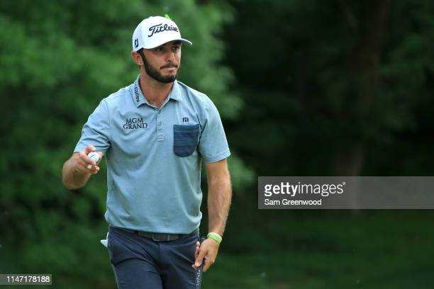 Max Homa reacts following a putt on the 12th green during the final round of the 2019 Wells Fargo Championship at Quail Hollow Club on May 05 2019 in...