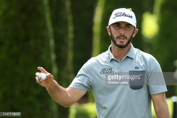 Max Homa reacts following a putt on the seventh green during the final round of the 2019 Wells Fargo Championship at Quail Hollow Club on May 05 2019...