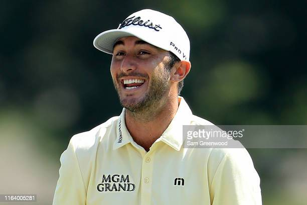 Max Homa smiles during a practice round prior to the World Golf ChampionshipFedEx St Jude Invitational at TPC Southwind on July 24 2019 in Memphis...
