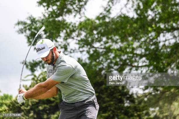 Max Homa swings on the sixth tee during the final round of the Wells Fargo Championship at Quail Hollow Club on May 5 2019 in Charlotte North Carolina