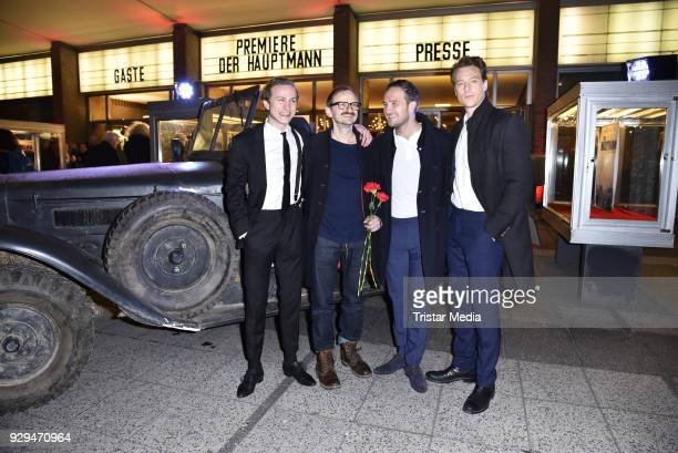 Max Hubacher Milan Peschel Frederick Lau and Alexander Fehling attend the premiere of 'Der Hauptmann' at Kino International on March 8 2018 in Berlin...
