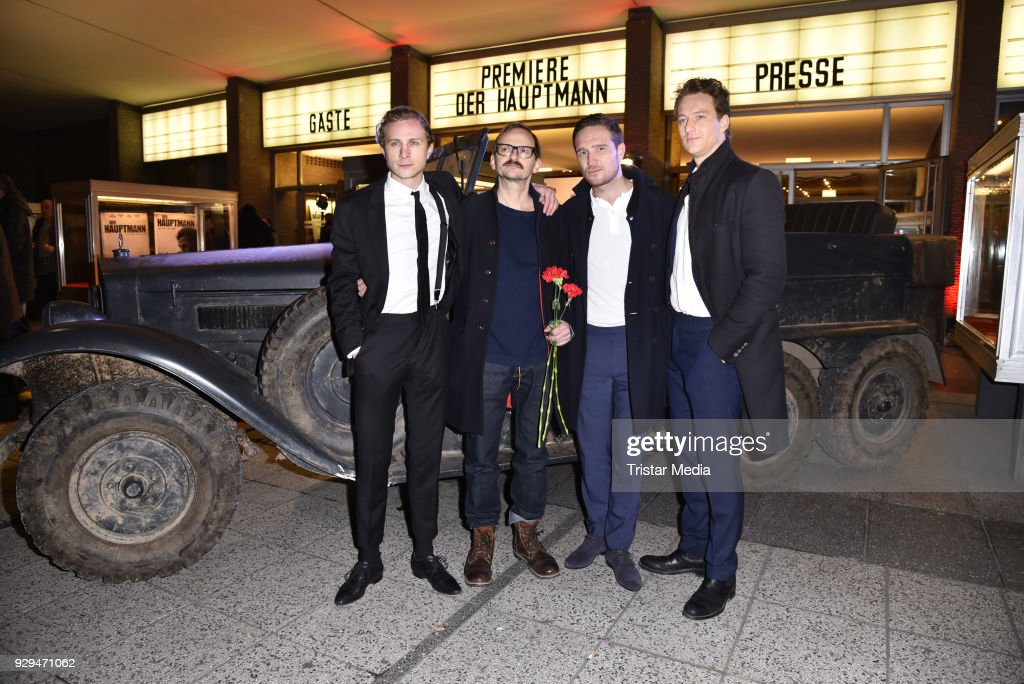 Max Hubacher, Milan Peschel, Frederick Lau and Alexander Fehling attend the premiere of 'Der Hauptmann' at Kino International on March 8, 2018 in Berlin, Germany.