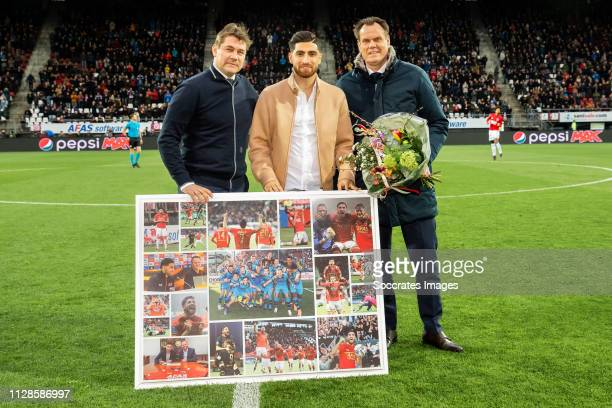 Max Huiberts Alireza Jahanbakhsh Robert Eenhoorn during the Dutch Eredivisie match between AZ Alkmaar v Fortuna Sittard at the AFAS Stadium on March...