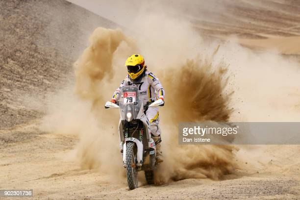 Max Hunt of Great Britain and HT Husqvarna Rally Raid rides a FR 450 Rally Husqvarna bike in the Classe 21 Super Production during stage two of the...
