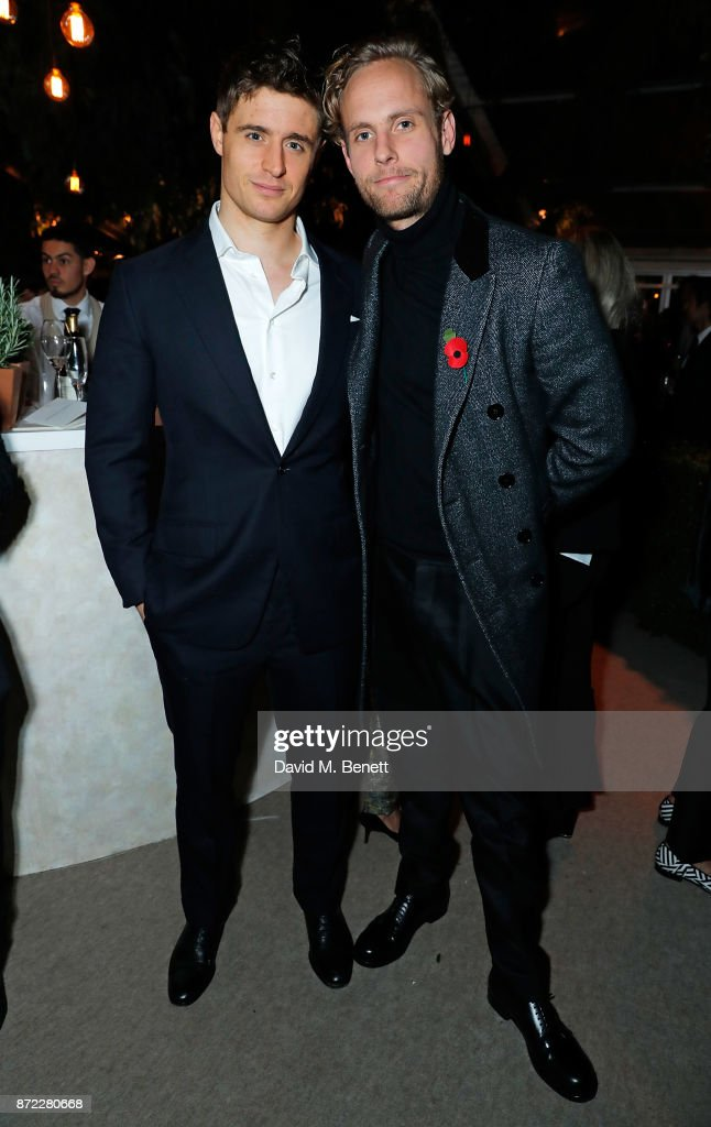 Max Irons and Jack Fox attend Bottega Veneta's 'The Hand of the Artisan Cocktail Dinner' at Chiswick House And Gardens on November 9, 2017 in London, England.