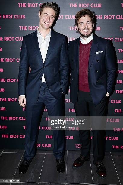 Max Irons and Sam Claflin attend 'The Riot Club' Paris Premiere at Mk2 Bibliotheque on December 1 2014 in Paris France