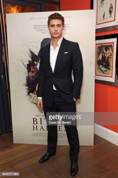 Max Irons attends the UK Gala Screening of 'Bitter Harvest' at The Ham Yard Hotel on February 20 2017 in London England