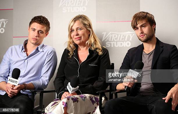 Max Irons director Lone Scherfig and actor Douglas Booth attend day 2 of the Variety Studio presented by Moroccanoil at Holt Renfrew during the 2014...