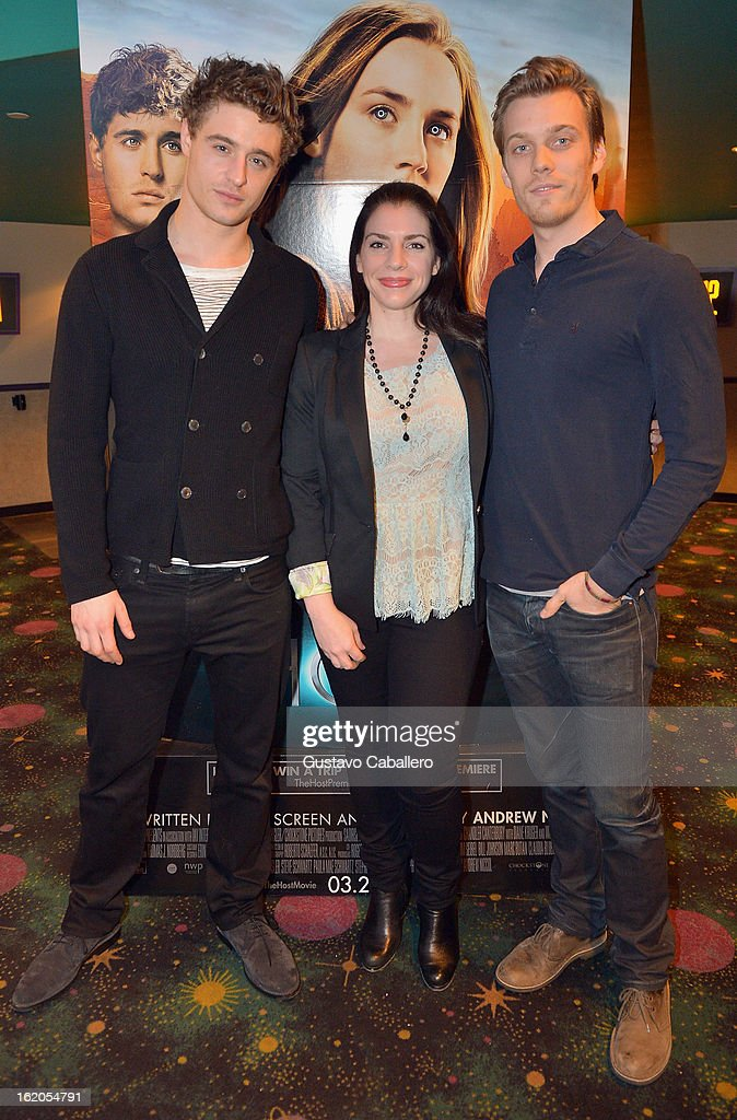 Max Irons, Stephenie Meyer and Jake Abel attend 'The Host' Miami Q&A Screening at AMC Sunset Place on February 18, 2013 in Miami, Florida.