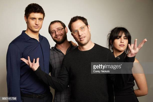 Max Irons Todd Katzberg Jason Smilovic and Leem Lubany from the film Condor pose for a portrait in the Getty Images Portrait Studio Powered by Pizza...