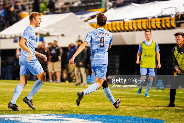 Max Jacobs of Tufts Jumbos after scoring a goal during the Division III Men's Soccer Championship held at UNCG Soccer Stadium on December 7 2019 in...