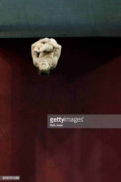Max Jenkins competes during the Senior Men's Platform Preliminary during the 2017 USA Diving Summer National Championships on August 10 2017 in...