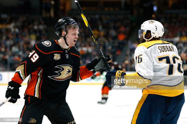Max Jones of the Anaheim Ducks yells at PK Subban of the Nashville Predators during the third period at Honda Center on March 12 2019 in Anaheim...