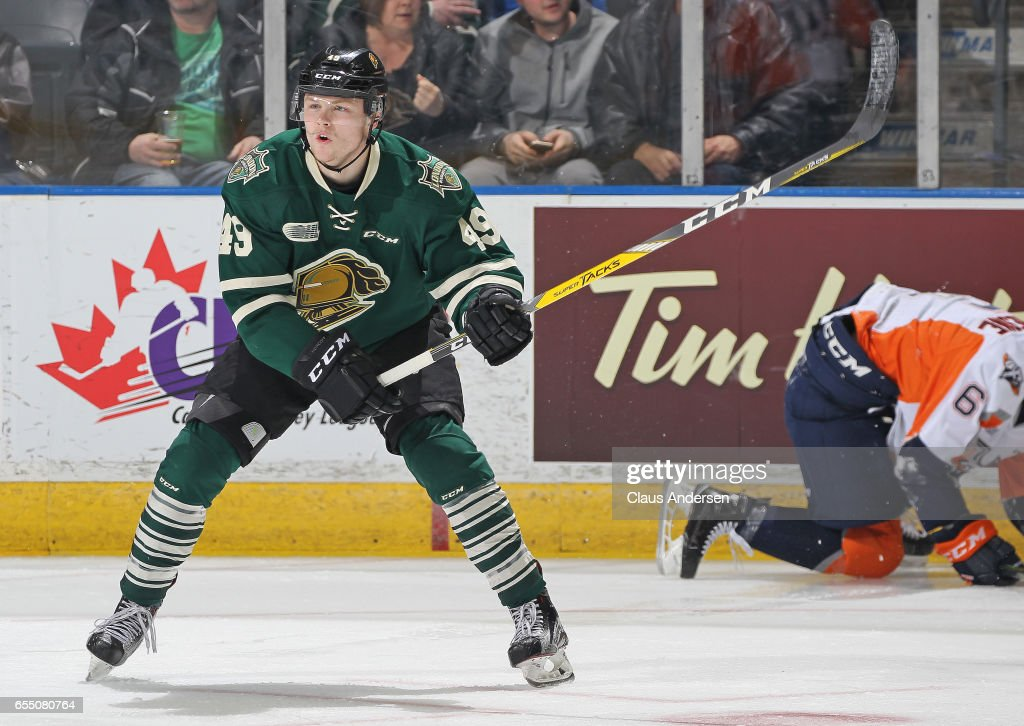 Max Jones #49 of the London Knights calls for a pass against the Flint Firebirds during an OHL game at Budweiser Gardens on March 17, 2017 in London, Ontario, Canada. The Knights defeated the Firebirds 7-3.