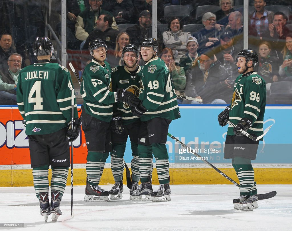 Max Jones #49 of the London Knights celebrates his highlight reel goal against the Flint Firebirds during an OHL game at Budweiser Gardens on March 17, 2017 in London, Ontario, Canada. The Knights defeated the Firebirds 7-3.