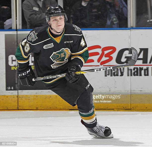 Max Jones of the London Knights skates against the Saginaw Spirit during an OHL game at Budweiser Gardens on January 13, 2017 in London, Ontario,...