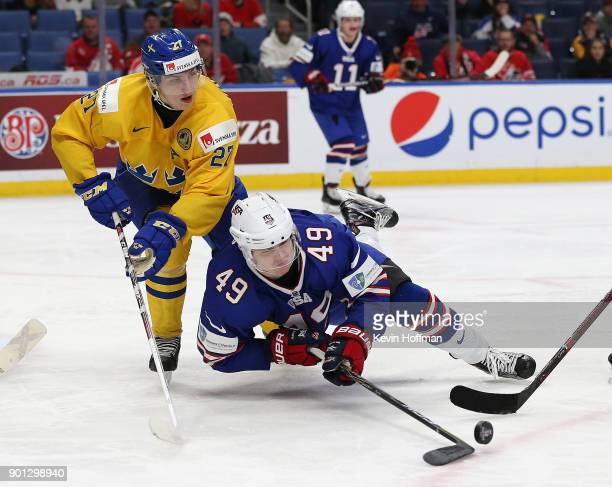 Max Jones of United States tries to control the puck as Jacob Moverare of Sweden defends in the second period during the IIHF World Junior...