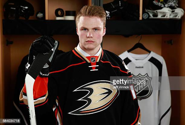 Max Jones selected 24th overall by the Anaheim Ducks poses for a portrait during round one of the 2016 NHL Draft at First Niagara Center on June 24...