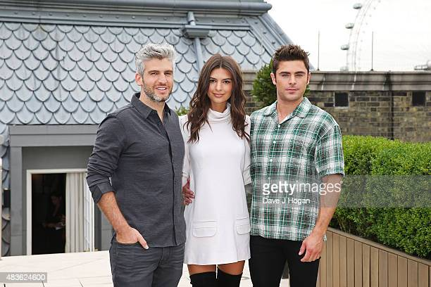 Max Joseph Emily Ratajkowsk and Zac Efron pose at the 'We Are Your Friends' photocall at the Corinthia Hotel London on August 11 2015 in London...