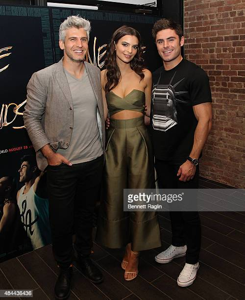Max Joseph Zac Efron and Emily Ratajkowski attend the 'We Are Your Friends' Tour Stop Photo Call And After Party at Marquee on August 18 2015 in New...