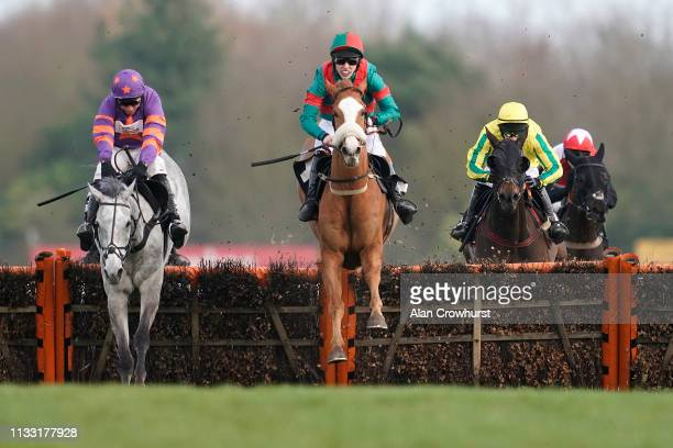 Max kendrick riding First Drift clear the last to win The Peter O'Sullevan Charitable Trust HOPE Programme Seniors' Handicap Hurdle at Newbury...