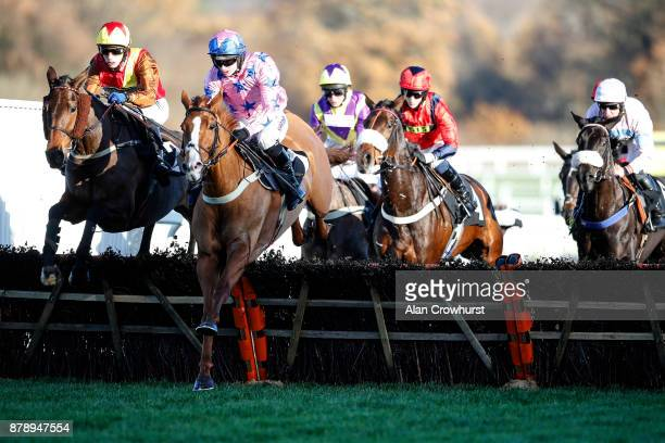 Max Kendrick riding Graceful Legend on their way to winning The Trisoft Mares Handicap Hurdle Race at Ascot racecourse on November 25 2017 in Ascot...