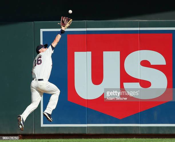 Max Kepler of the Minnesota Twins catches a fly ball hit by Greg Allen of the Cleveland Indians in the sixth inning at Target Field on June 2 2018 in...