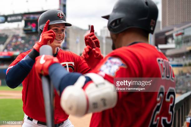Max Kepler of the Minnesota Twins celebrates his home run against the Baltimore Orioles on April 28 2019 at the Target Field in Minneapolis Minnesota...