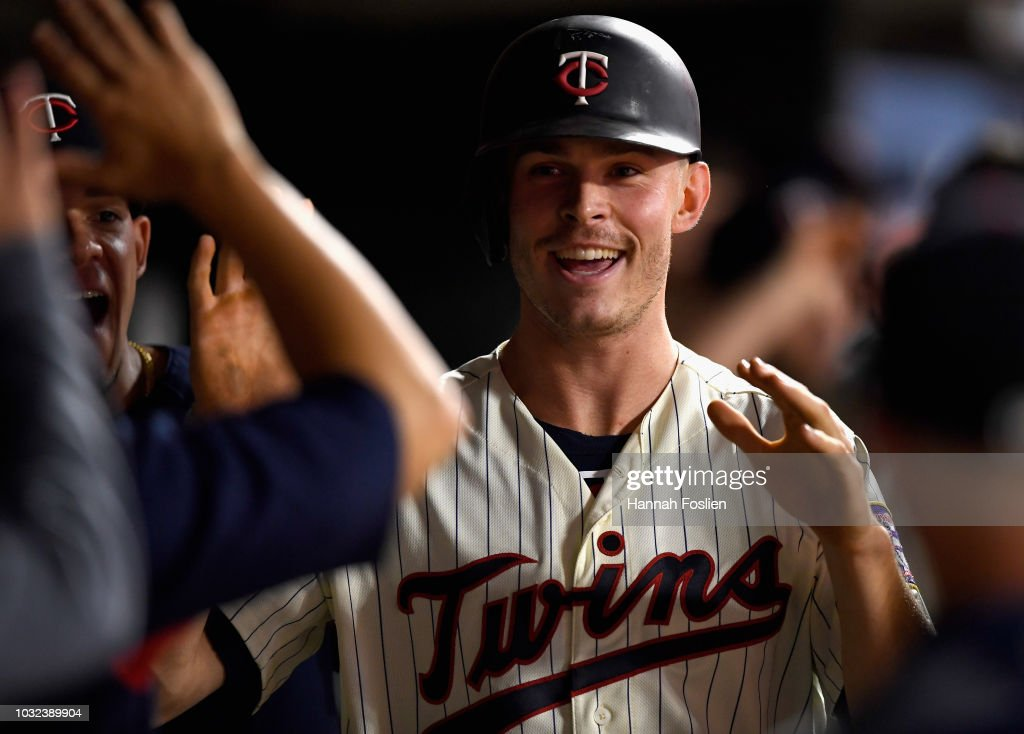 Max Kepler #26 of the Minnesota Twins celebrates scoring a run against the New York Yankees during the sixth inning of the game on September 12, 2018 at Target Field in Minneapolis, Minnesota.