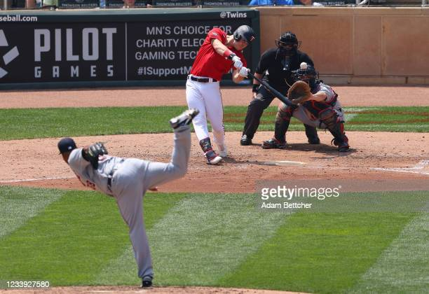 Max Kepler of the Minnesota Twins hits a solo home run in the fifth inning against the Detroit Tigers at Target Field on July 11, 2021 in...