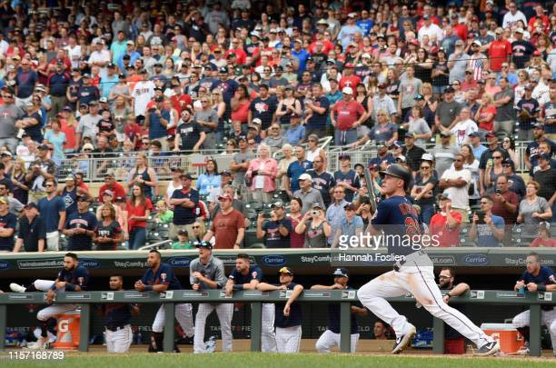 Max Kepler of the Minnesota Twins hits a walkoff single against the Oakland Athletics during the ninth inning of the game on July 21 2019 at Target...