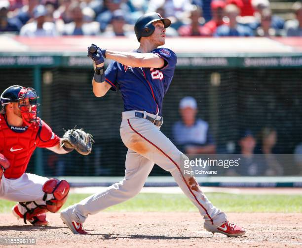 Max Kepler of the Minnesota Twins hits an RBI single against Oliver Perez of the Cleveland Indians during the seventh inning at Progressive Field on...