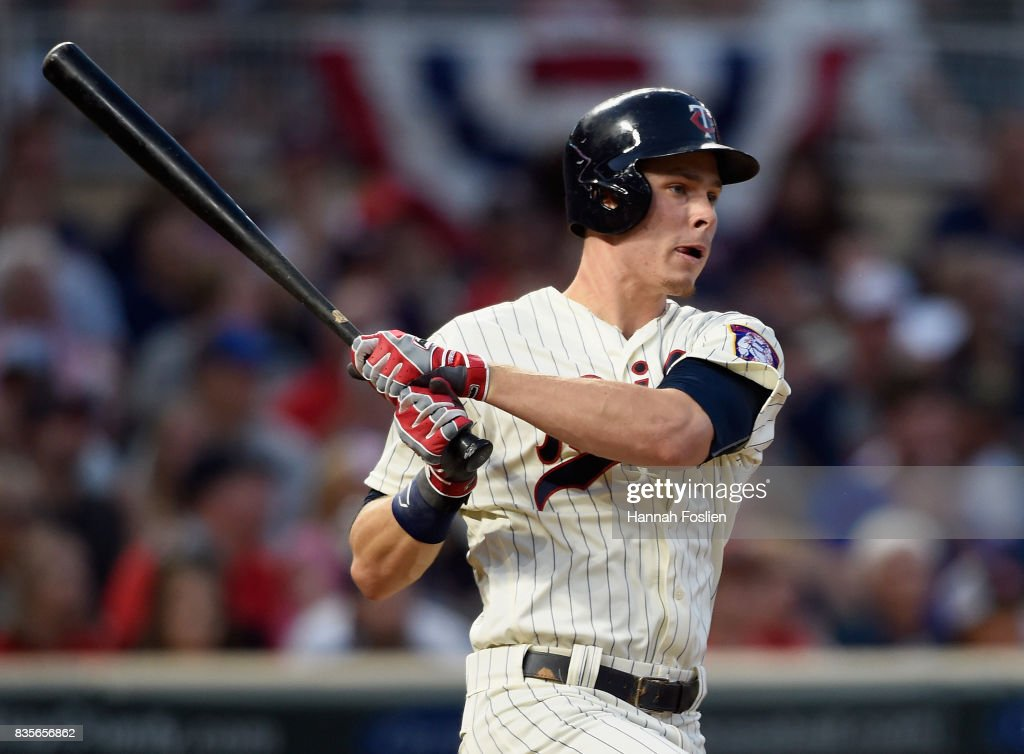 Max Kepler #26 of the Minnesota Twins hits an two-run single against the Arizona Diamondbacks during the fourth inning of the game on August 19, 2017 at Target Field in Minneapolis, Minnesota.