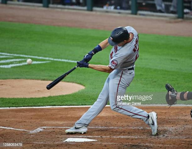 Max Kepler of the Minnesota Twins hits his second home run of the the game, a solo shot in the 2nd inning, against the Chicago White Sox during the...