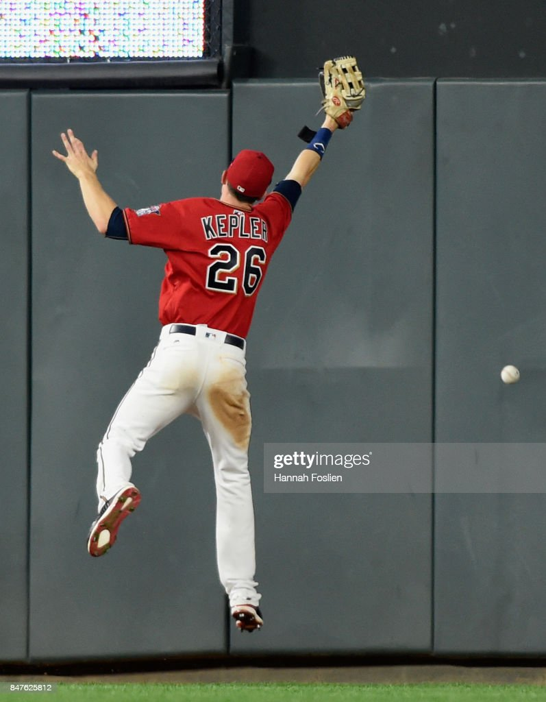Max Kepler #26 of the Minnesota Twins is unable to catch a double hit by Josh Donaldson #20 of the Toronto Blue Jays during the ninth inning of the game on September 15, 2017 at Target Field in Minneapolis, Minnesota. The Blue Jays defeated the Twins 4-3.