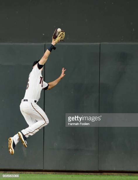 Max Kepler of the Minnesota Twins makes a catch in right field of the ball hit by Jose Martinez of the St Louis Cardinals during the sixth inning of...