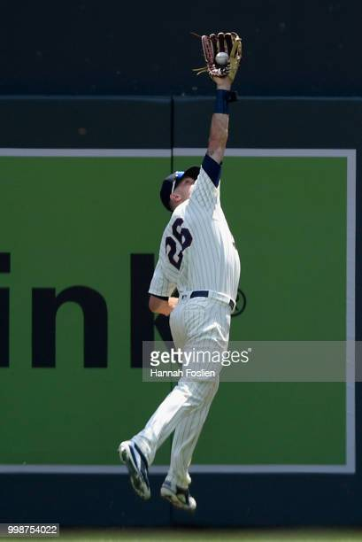 Max Kepler of the Minnesota Twins makes a catch in right field of the ball hit by Matt Duffy of the Tampa Bay Rays during the first inning of the...