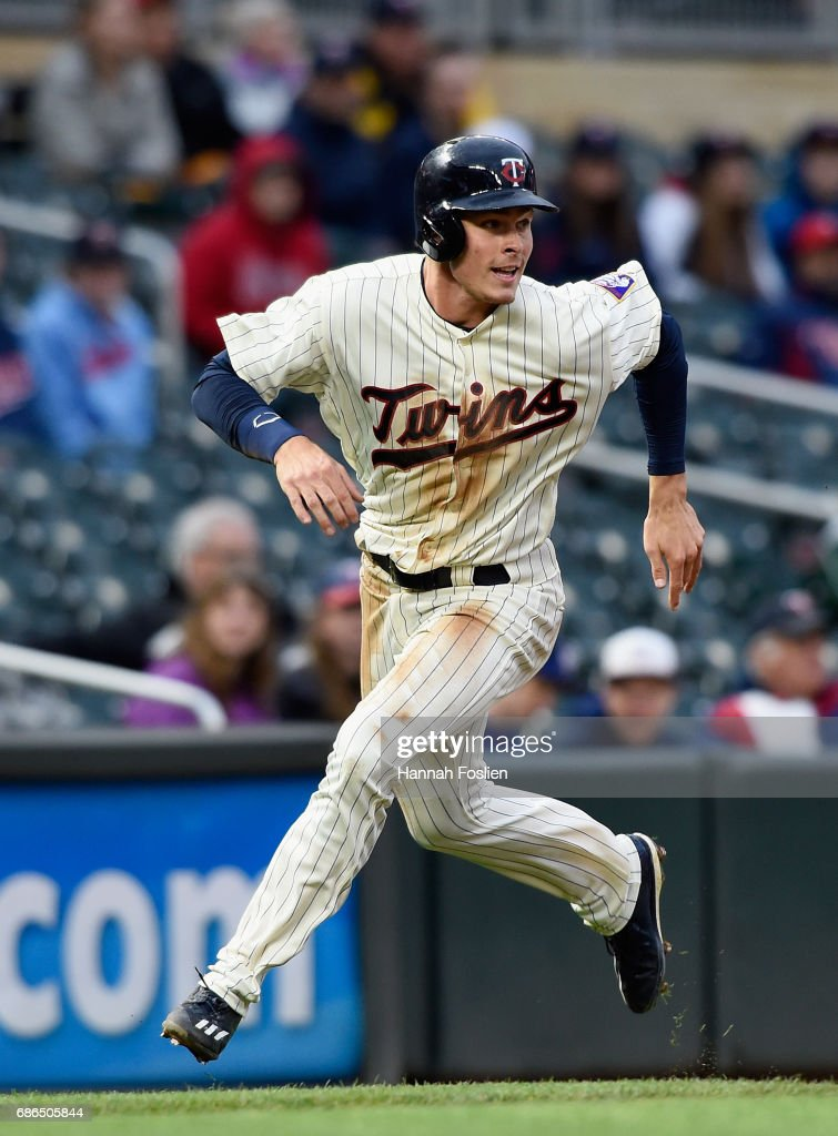 Max Kepler #26 of the Minnesota Twins runs home for a run against the Kansas City Royals during the seventh inning of game two of a doubleheader on May 21, 2017 at Target Field in Minneapolis, Minnesota. The Twins defeated the Royals 8-4.