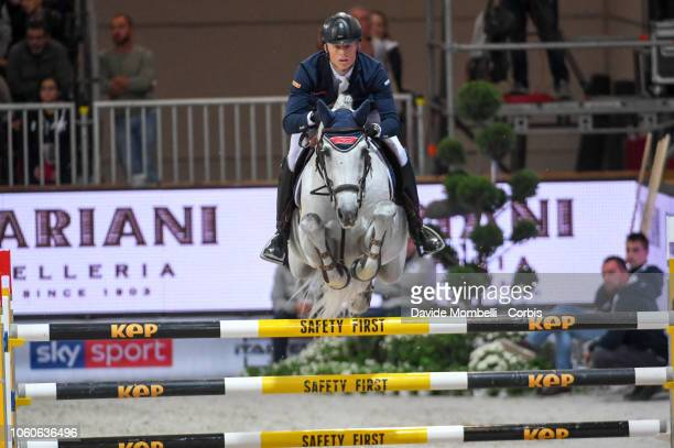 Max Kühner of Austria riding Chardonnay 79 during the Longines FEI Jumping World Cup Verona 2018 CSI5*W on October 28 2018 in Verona Italy