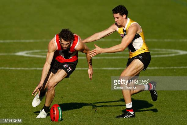 Max King and Oscar Clavarino of the Saints compete during a St Kilda Saints AFL training session at RSEA Park on June 03, 2021 in Melbourne,...
