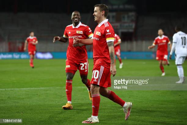 Max Kruse of 1 FC Union Berlin celebrates after scoring his team's fourth goal during the Bundesliga match between 1 FC Union Berlin and DSC Arminia...