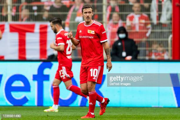 Max Kruse of 1. FC Union Berlin looks on during the Bundesliga match between 1. FC Union Berlin and VfL Wolfsburg at Stadion An der Alten Foersterei...