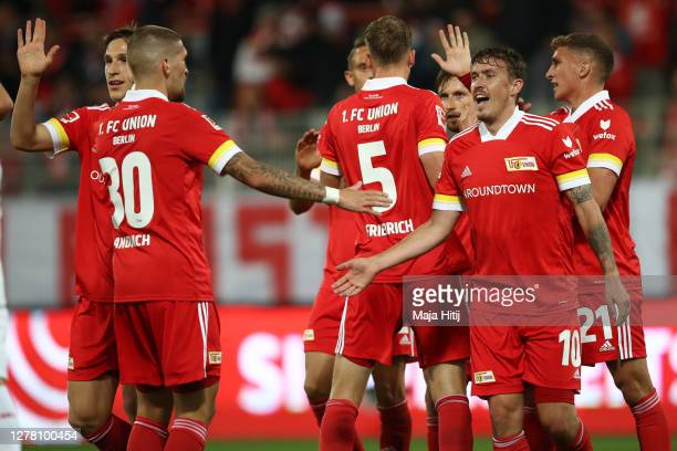 Max Kruse of 1.FC Union Berlin celebrates after scoring his sides first goal during the Bundesliga match between 1. FC Union Berlin and 1. FSV Mainz...