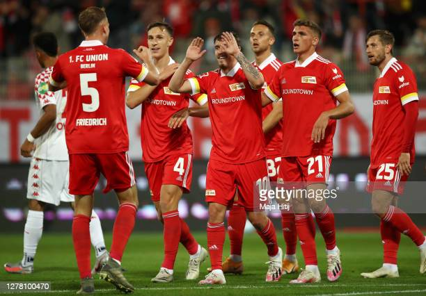 Max Kruse of 1FC Union Berlin celebrates after scoring his sides first goal during the Bundesliga match between 1 FC Union Berlin and 1 FSV Mainz 05...