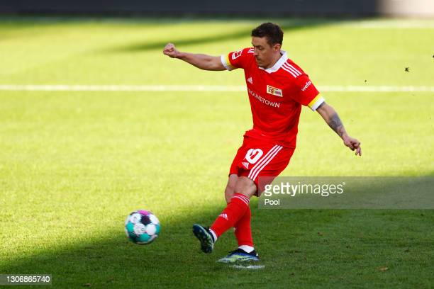 Max Kruse of 1.FC Union Berlin scores their team's first goal from a penalty during the Bundesliga match between 1. FC Union Berlin and 1. FC Koeln...